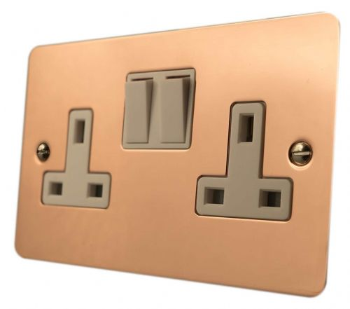 G&H FBC10W Flat Plate Bright Copper 2 Gang Double 13A Switched Plug Socket